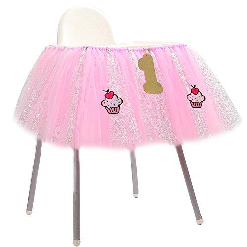 Lanlan 91,4x 35,6cm 1. Geburtstag Hochstuhl Tüll Tisch Rock mit drei kleine Zubehör Ideal für Baby Geburtstag Party ()