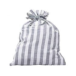 Grey Striped Drawstring Multi Purpose Pouch (Grey)