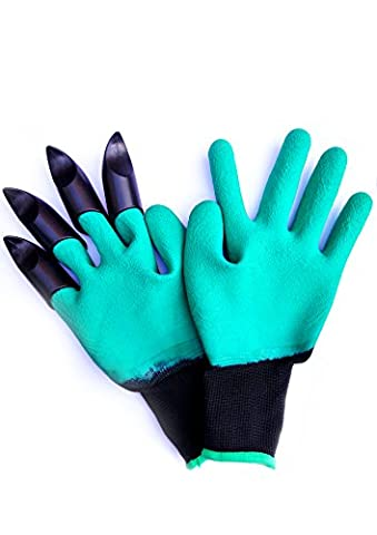 New Gardening Gloves with 4 Claws -Waterproof, Comfortable. Idea for Weeding, Pruning, Planting out seeding, Potting up plants, Digging or More! Quick & Easy to use Garden - Medium(1