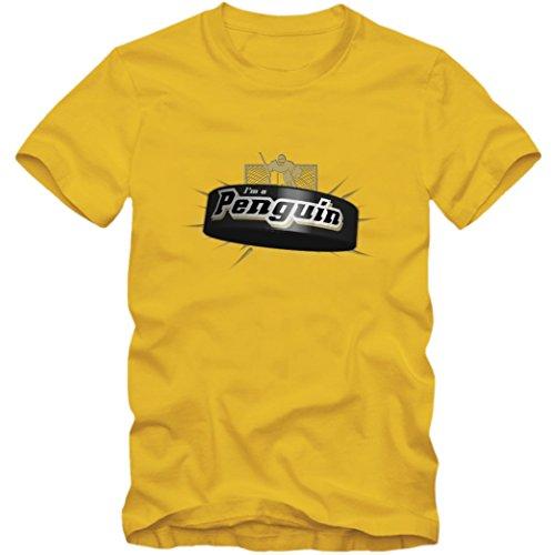 I'm a Penguin #2 T-Shirt |Herren | Eishockey | Play Offs | Fanshirt, Farbe:Gelb (Gold L190);Größe:XXL -