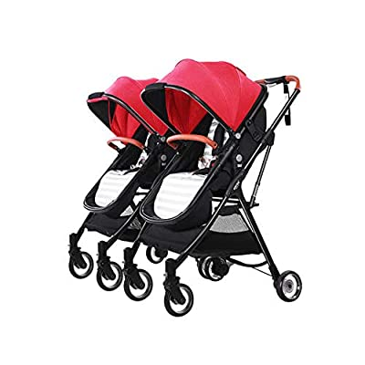 MYRCLMY Lightweight Folding Child Travel Artifact Baby Double Can Sit Detachable Twin Baby Stroller,Red