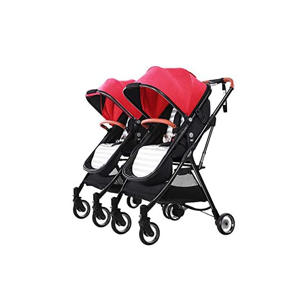 MYRCLMY Lightweight Folding Child Travel Artifact Baby Double Can Sit Detachable Twin Baby Stroller,Red  ***Two-way implementation: easy to interact with the baby at any time; all-aluminum ultra-light, frame only 3.2kg, petite treasure mother can also easily control; folding small can board, the patent sleeping basket can be folded, the car is very small, Can bring the plane directly, no need to check in. ***High landscape: the seat is high from the ground, refuses to eat the baby; magic transparent rubber wheel, with bearing, technology-explosive high-value transparent wheel, each wheel has built-in precision bearings, promotes super smooth and flexible, rubber wheel 5 years is not bad. ***Newborn sleeping basket design, newborn baby's exclusive mobile crib; reclining flat can sit straight, three-speed adjustment, 0-3 year old baby is suitable for comfortable seats. 1