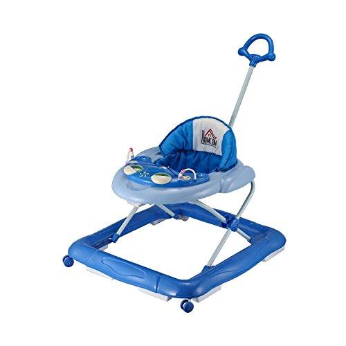 PawHut HOMCOM Lauflernhilfe Laufhilfe Gehhilfe für Baby Gehfrei Babywalker höhenverstellbar (Blau)