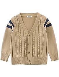 834c1c0966 J-TUMIA Kinder Tops Mantel Jacke Kinder Jungen Zopfmuster mit V-Ausschnitt  Schuluniform Strickjacke 2-8 Jahre (Farbe : Beige, Größe…
