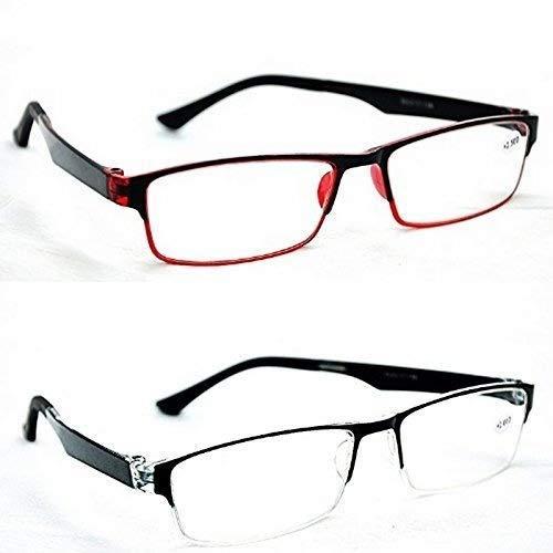 Stilvoll Unisex nahezu kurz gesichtet Myopia Distanz Brille NT115 -1.5-2.0-2.5 (nicht für lesen) - Schwarz & Rot, -2.0