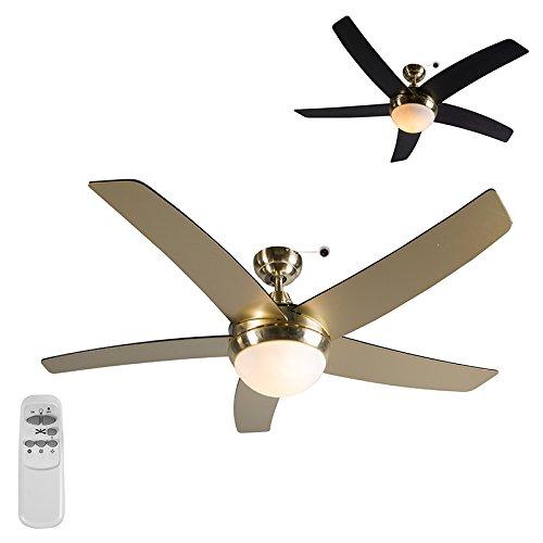 QAZQA Ventilatore da soffitto Cool 52 - Moderno - Vetro/Poliestere/Metallo, - Nero/Oro, - Tondo - adatto per LED - E14 - Max. 2 x 40 Watt