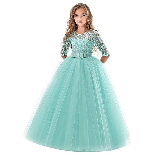 Riou Weihnachtskleid Mädchen Prinzessin Spitzenkleid Lang Kinder Baby Leistung Formal Tutu Mini Ballkleider Abendkleid Elegant für Hochzeit Party Geburtstag Outfits Kleidung (150, Green ()