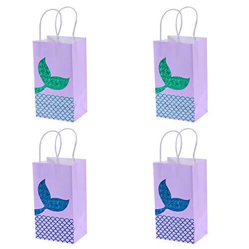 4 Stück Geschenk Taschen Vergoldung Meerjungfrau Muster Premium Sortiert goldene Geschenk Taschen mit Griff Größe (blau und grün)