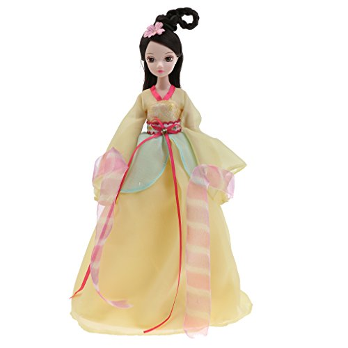 Sharplace Flexible Kostüm Puppen - Chinesisch Sieben Prinzessin Fee Figur Modepuppe Dekopuppe - Geschenk für Freunde Oder Kinder - Gelb