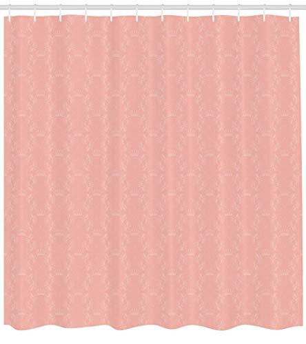 Nyngei Pfirsich Duschvorhang weichen farbigen Hintergrund mit Kronen und floralen abstrakten Motiven mit verblassten Look einfarbigen Stoff Badezimmer Dekor Set mit180CMe Koralle
