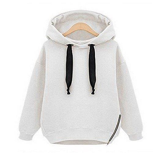 Vertvie Damen Gefüttert Kapuzenpullover Sweatshirt Hoodie mit Seitenverschluss Strickpullover Langarm Bluse Jumper Hemd pulli herbst winter (XS, (Hoodie Sexy)
