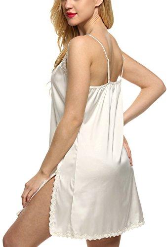 Ekouaer Damen Spitze Tiefausschnitt Negligee Nachthemd Nachtwäsche Nachtkleid aus Satin Weiss(Stil 2)