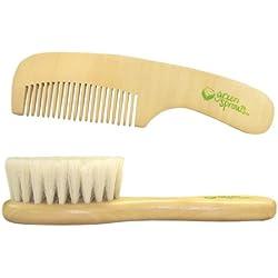 Brotes Verdes 301700-018-00 peine de madera y Babybürste- set con el pelo de cabra muy suave