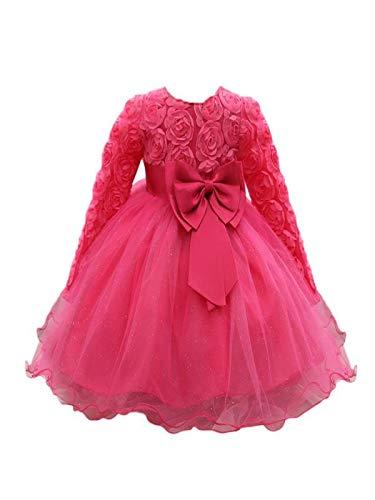 Mbby Vestiti Battesimo Neonati,6-18 Mesi Abito da Carnevale per Bambina Vestito Cerimonia Principessa in Pizzo con Arco Senza Manica Fiori Tulle Abiti Tutu per Ragazza