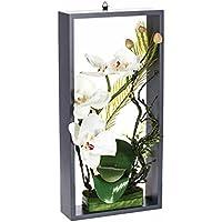 Composition de fleurs artificielles Orchidée sur cadre - Blanc