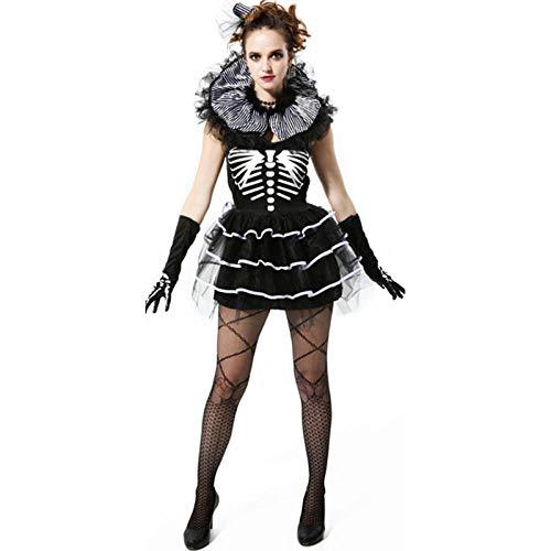 Skelett Prinzessin Kostüm - wnddm Halloween gruselige Kostüme für Frauen Leiche Braut Kleid Böse Prinzessin Skelett Vampir Tag der Toten Kostüm@Andere_S