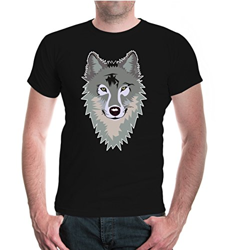 buXsbaum® T-Shirt Wolf-Face-Emblem Black-z-direct