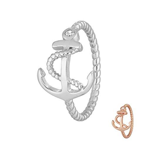 Treuheld® | 925 Silber Ring mit Anker und KRISTALL - Strass Damen-Ring mit Zirkonia - Sterling - Kristall Schmuck maritim in Silber oder Rose-Gold in 8 Größen Silber 48