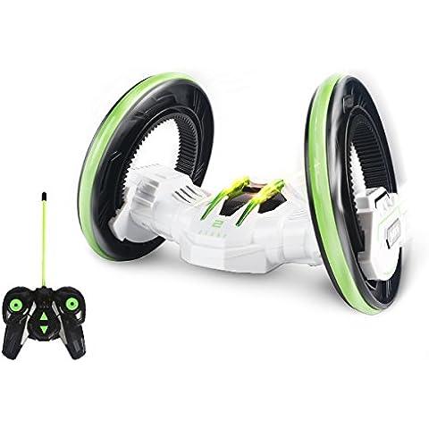 SainSmart Jr. Dos Ruedas Stunt Race Car, Vehículo RC Con Faros LED, De Doble Cara Que Cae, Detalle De Alta Velocidad De Rotación, Blanca