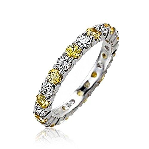 Bling Jewelry Citrino y simulada claro CZ Apilable...
