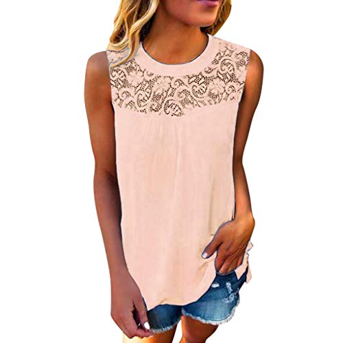 Momoxi Damen Casual Spitze Sleeveless Crop Top Weste Tank Shirt Bluse Cami Top,Tank Trägertop T-Shirt Bluse Camisole 2019 Rosa 2XL - Sportliche Kids Tank Top
