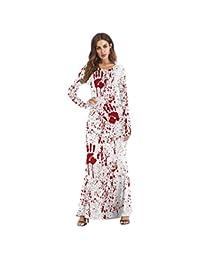 SHANGLY Mujeres Horror Blood Disfras A La Moda Mangas Largas Tobillo-Longitud Halloween Vestidos,
