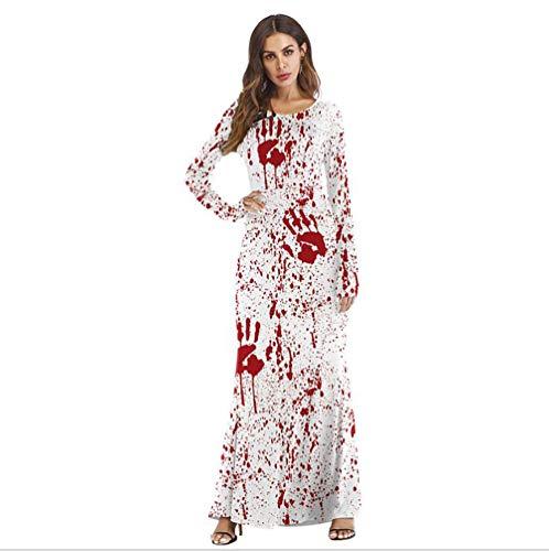 (SHANGXIAN Frau Party Halloween Schickes Kleid Kostüm Horror Beschmutzte Drucken Kleider,S/M)