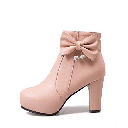 AgooLar Damen Niedrig-Spitze Rein Reißverschluss Hoher Absatz Stiefel mit Schleife Pink