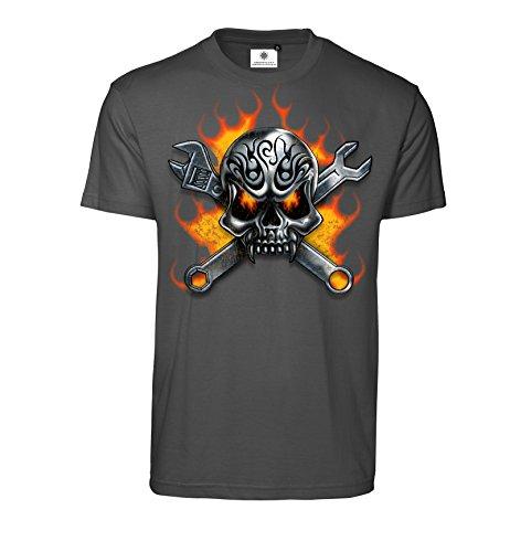 Bedrucktes Herren T-Shirt mit Motiv Hardcore Schrauber (4XL, Koks) -