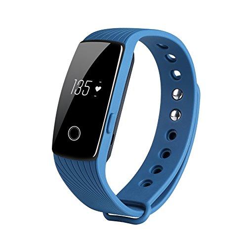COOSA ID107 Activity Tracker , Fitness Tracker, Braccialetto Monitoraggio Battito Cardiaco e Rilevamento,Wireless Activity Wristband , Touchscreen Oled Intelligente Sport Braccialetto per Android e IOS (2Blu, ID107)