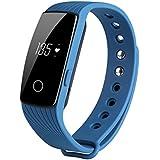 COOSA Monitor del ritmo cardíaco, Wireless rastreador de ejercicios, inteligente Muñequera con Multi-Funciones Rastreador de Actividad para Android e iOS (Azul)