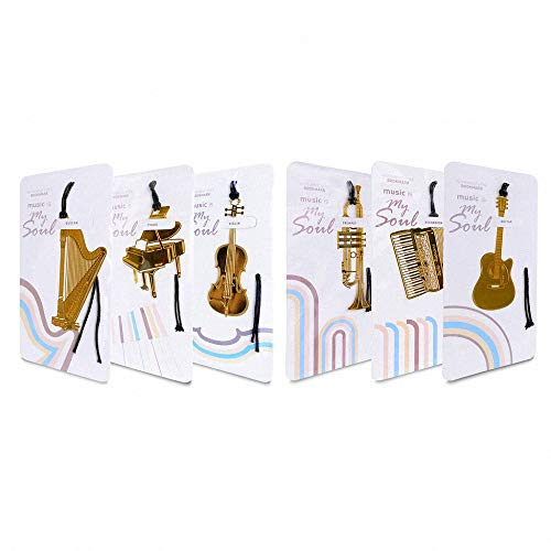 6 Pcs Musical Instrument Metal Bookmark - Amupper Cuted 18k Gold Plated Stainless Steel Book Mark