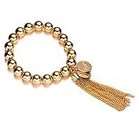 Women's Gold Tone Fashion Stretch Beaded Bracelet with Tassels
