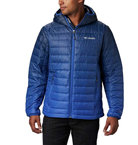 Columbia Men's Voodoo Falls 590 TurboDown Hooded Jacket, Azul Topo Fade Print, X-Large (550 Fill Down Jacket)