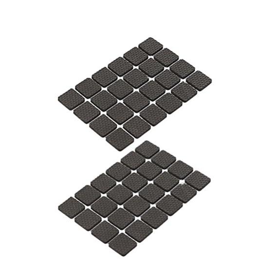 Vosarea 48pcs Rubber Floor Protectors Furniture Floor Protector Pad for Table Chair Furniture 2.2x2.2cm (Square Black)