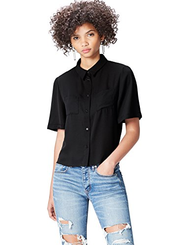 FIND Hemd Damen mit kurzen Ärmeln, Brusttaschen und kastenförmiger Silhouette, Schwarz, 36 (Herstellergröße: Small)