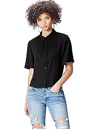 FIND Women's Short Sleeve Pocket Short Sleeve Blouse