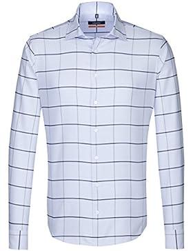 SEIDENSTICKER Herren Hemd Slim 1/1-Arm Bügelleicht Karo City-Hemd Kent-Kragen Kombimanschette weitenverstellbar