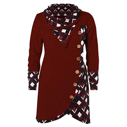 Beladla abbigliamento maglietta elegante casual tops blusa camicetta da donna con magliette top maniche lunghe bluse a manica lunga camicia ragazza scozzese collo alto stampa irregolare blouse