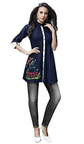 Kurti (J B Fashion Women\'S Rayon Navy Blue Colour Kurta (k2026))