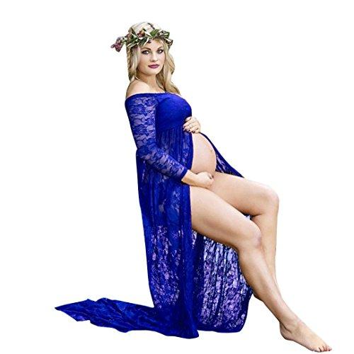 MCYs Frauen Schwanger Maternity Jerseykleid Fotografie Aus der Schulter Spitzen Pflege Langes Kleid Schulterfrei Fotografie Mutterschaft Kleid Rock Spitze Lange Maxi Kleid (S, Dunkelblau)
