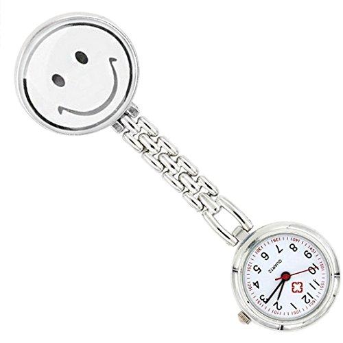 Tinksky Smiling Face Watch Krankenschwester Fob Watch Edelstahl Pocket Watch Doctor Brosche Vorhänger