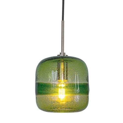 Jesco Lighting PD407-GN/BN 1-Light Line Voltage Pendant and Canopy with Brushed Nickel Socket, Green by Jesco Lighting Group (Kit Nickel-track)