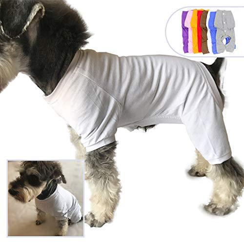 lovelonglong 2019 Haustier Kostüm Pyjama für kleine Hunde 100% Baumwolle Welpen Hund Vierbeine Jumpsuit Teddy 121,9 m für Miniatur Schnauzer weiß S (Die Besten Kostüme Für Jungen 2019)