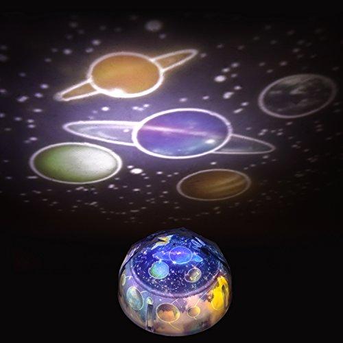 Sternenlicht LED Sternenhimmel-Projektor Nachtlicht Lampe Einschlafhilfe für Baby/Kinder/Erwachsene [4 Film] Projiziert die Neun Planeten, der Mond, einen Sternenhimmel und Geburtstag Kuchen [schwarz]