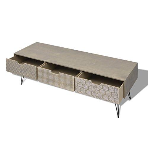 Festnight Meuble TV avec 3 Tiroirs Table Basse en Bois Scandinave Design