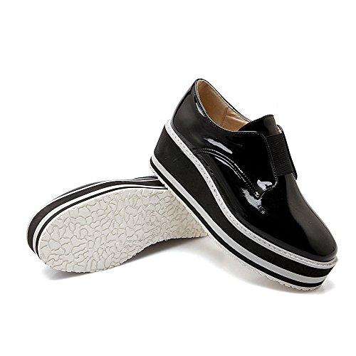 VogueZone009 Femme à Talon Correct Couleur Unie Tire Verni Rond Chaussures Légeres Noir