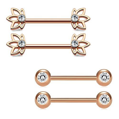 Incaton 2 Paare 14 Gauge 1.6mm Brustwarzenpiercing Brustwarzenring Nippelpiercing Chirurgenstahl Zungenpiercing mit Zirkonia Kristall Rosa Gold