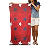 HaiYI-ltd Bath Towel Blue White And Red Stars Funny Pattern Creative Patterned Soft