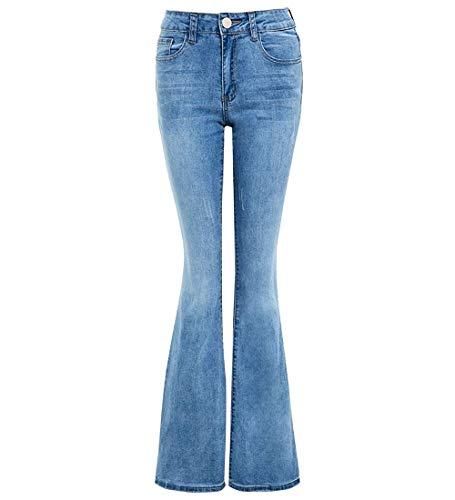 SS7 Damen Denim Jean Aufflackern Ausgebrannt Strecken Bootcut Jeans (38, Denim Blau) Stretch-kick Flare Jeans